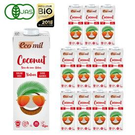 EcoMil(エコミル) 有機ココナッツミルク ストレート(無糖) 1000ml×12本