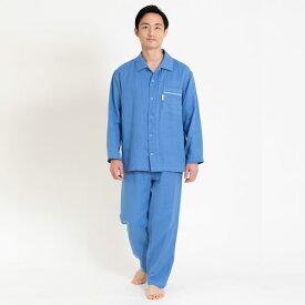 Liflance(リフランス) 綿麻ワッフルガーゼパジャマ メンズ ブルー/M