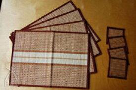 タイ王国イサーン地方の極細バンブー手織り ランチョンマット&コースターセット 4人用 (茶系)