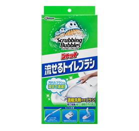 スクラビングバブル シャット 流せるトイレブラシ本体+替え4個[スクラビングバブル 洗浄剤 トイレ用]