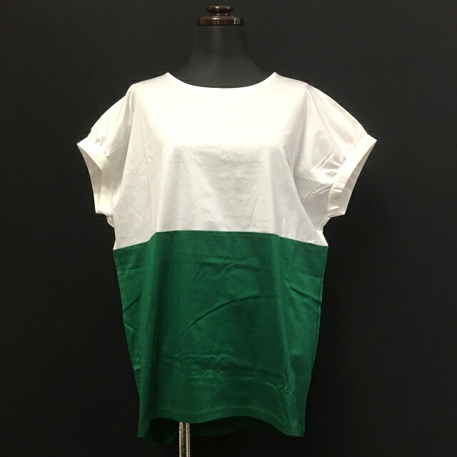 ププラ PUPULA 2013SS バイカラー オーバーサイズカットソー Tシャツ 半袖 38 ホワイト/グリーン 緑 白 春夏 レディース 【中古】【ベクトル 古着】 170621 VECTOR×Refine