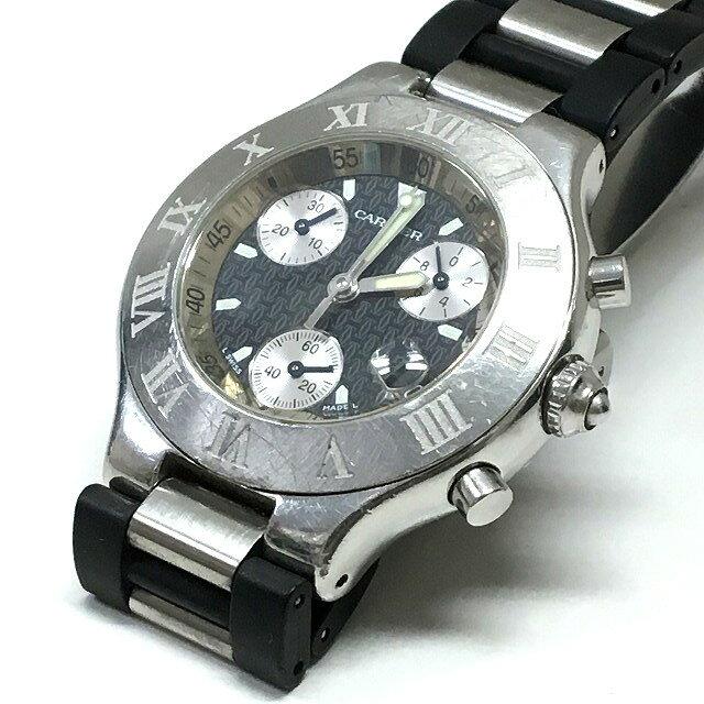カルティエ Cartier 2424 マスト21 クロノスカフ クオーツ 腕時計 ウォッチ ブラック文字盤/シルバー 黒 銀 純正ブレス SSAW メンズ 【中古】【ベクトル 古着】 170727 VECTOR×Refine