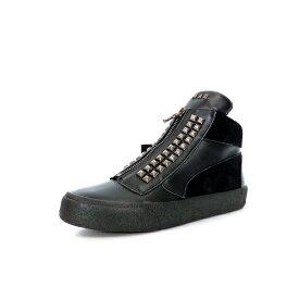 【中古】未使用品 ムーンエイジデビルメント Moonage Devilment フロントZIP トリプルレザー スタッズスニーカー 靴 38 BK/MAD ブラック 黒 mfw-0071 SSAW レディース 【ベクトル 古着】 200111 VECTOR×Refine