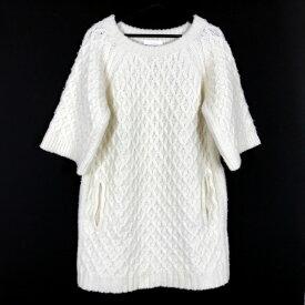 中古 クロエ CHLOE 16AW オーバーサイズ ケーブルニット セーター ワンピース 半袖 M 白 ホワイト ミルク 16HMR06-16H560  レディース  中古  ベクトル 古着  ... 27f88c7ff52