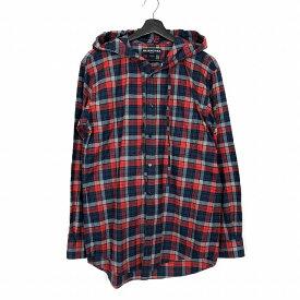 バレンシアガ BALENCIAGA 17AW フード付き オーバーサイズ チェックシャツ 長袖 レッド 赤 マルチカラー 37 国内正規 メンズ 【中古】【ベクトル 古着】 190128 VECTOR×Refine
