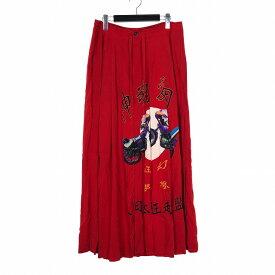 【中古】ヨウジヤマモトノアール YOHJI YAMAMOTO NOIR B 19SS 左ラップ幻虎 スカート 3 レッド 赤 NH-S54-219-1A メンズ レディース 【ベクトル 古着】 191015 VECTOR×Refine
