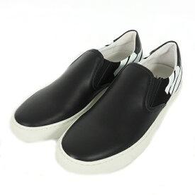 【中古】ストラムアディクト Strum addict ローカット レザースリッポン スニーカー 靴 2 ブラック 黒 101-1008 メンズ 【ベクトル 古着】 191210 VECTOR×Refine