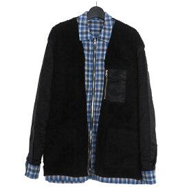 【中古】ダイエットブッチャースリムスキン DIET BUTCHER SLIM SKIN 18AW Reversible zipped shirt jacket リバーシブル チェック ジャケット ボア 2 ブラック 黒 ブルー 青 D183S323 メンズ 【ベクトル 古着】 200824 VECTOR×Refine