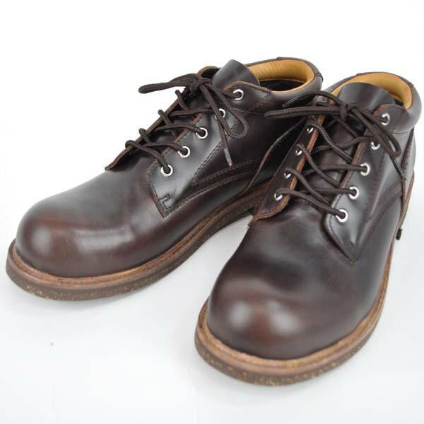 SLOWWEARLION(スローウェアライオン)レザーシューズ OB-8958M オイルドレザークラシックオックスフォードブーツシューズ OXFORD コルクソール BROWNレザーブーツ 本革ブラウンレザー メンズBOOTS 男性用本革靴 日本製ワークブーツ ポストマン 国産短靴 レースアップ バイカー