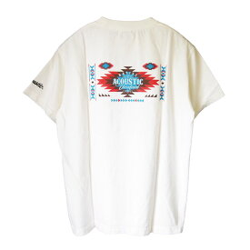 Acoustic アコースティック プリント Tシャツ ac20202 ヘビーウェイト クルーネック 半袖 丈夫 頑丈 肉厚 厚手 バックプリント インディアン ネイティブ アメリカン オルテガ 柄 ヴィンテージ イーグル フェザー 羽根 アメカジ ルード バイカー Tシャツ オフホワイト