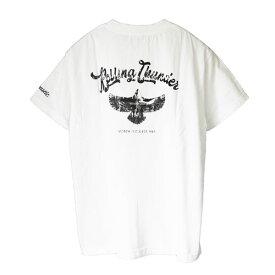 Acoustic アコースティック プリント Tシャツ ac20211 ヘビーウェイト クルーネック 半袖 シルバー アクセ イーグル バックプリント 丈夫 頑丈 肉厚 厚手 フェザー 羽根 インディアン ネイティブ アメリカン 柄 ヴィンテージ アメカジ ルード バイカー Tシャツ ホワイト