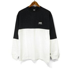 VANS バンズ 長袖 Tシャツ VA19FW-MT02 Color Block L/ST-Shirts ロゴ刺繍 カラーブロック ロンT ツートン ロング スリーブ Tシャツ ヴァンズ mens メンズ レディース ユニセックス トップス ストリート スケボー スケーター