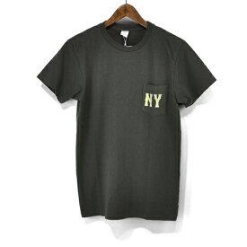 VELVA SHEEN ベルバシーン NY クルーネック ポケット 付き Tシャツ 161980 NEWYORK ニューヨーク プリント ロゴ 丸首 ポケ T S/S TEE 半袖 Tシャツ メンズ 大人 サーファー アメカジ バイカー アメリカ製 ティーシャツ 経年変化 Made in USA