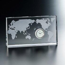 名入れ メッセージ彫刻 名入れ時計【退職記念 退職祝い】GLASS WORKS NARUMIワールド クロック 10cm world卓上時計 置時計 ナルミ (鳴海製陶)セール