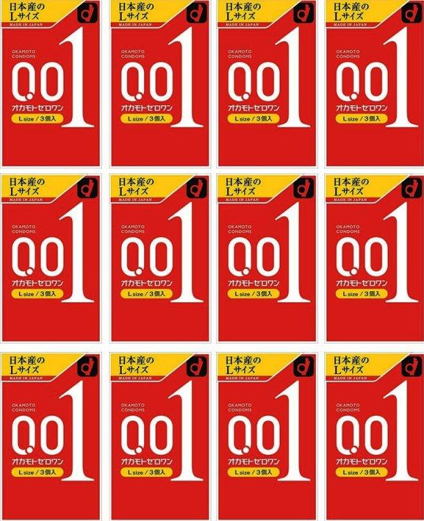 【送料無料】【Lサイズ】オカモトゼロワン 0.01 Lサイズ 3個入り×12箱セット(36回分)【ヘビーユーザー感射セット】