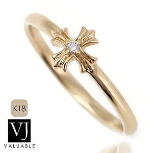 VJ【ブイジェイ】ダイヤモンド 18金 リング 18k メンズ レディース イエローゴールド フィノ クロス 指輪[K18 アメリカ イタリア ハワイアン ジュエリー ブランド 十字架 シンプル カレ