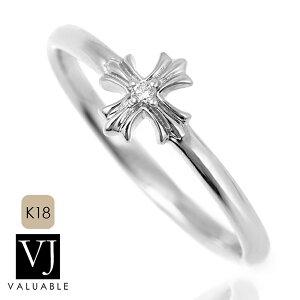 VJ【ブイジェイ】ダイヤモンド 18金 リング 18k メンズ レディース ホワイトゴールド フィノ クロス 指輪[K18 アメリカ イタリア ハワイアン ジュエリー ブランド 十字架 シンプル イタ