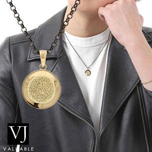 VJ【ブイジェイ】 K18 メンズ イエローゴールド B&Yコレクション ダブル テクスチャー エンド コイン ペンダント ブラック ロールチェーンセット[k18 18k ネックレス 18金 シンプル アメリ