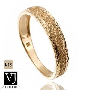 VJ【ブイジェイ】18金 リング 18k メンズ レディース イエローゴールド ダブル テクスチャー ゴールドロウ リング[印台 指輪 k18 ブランド スターダスト ハワイアン キヘイ きへい 喜平 イ