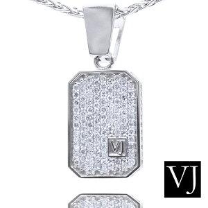 【ファッション誌に掲載】VJ K18 ホワイトゴールド メンズ クラッシュド ダイヤモンド ペンダント カット アズキ チェーンセット 【Bセット】【k18 ネックレス 18k ネックレス 18金 ネックレ