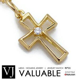 K18 イエローゴールド メンズ ダイヤモンド0.02ct クロス ペンダント 18金 18k ネックレス デザイン【キャンペーン対象商品】