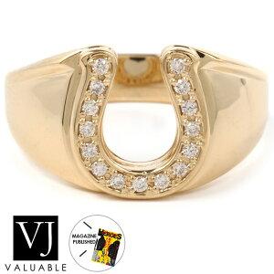 【ファッション誌掲載】ダイヤモンド 18金 リング 18k メンズ イエローゴールド ラッキー ホースシュー 指輪[K18 アメリカ イタリア ハワイアン ジュエリー ブランド 馬蹄 シンプル