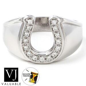 【ファッション誌掲載】ダイヤモンド 18金 メンズ リング 18k ホワイトゴールド 「Sun Rises in ホースシュー」 指輪[K18 アメリカ イタリア ハワイアン ジュエリー ブランド 馬蹄 シンプル ネ