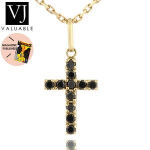 【ファッション誌に掲載】VJ【ブイジェイ】K18 イエローゴールド メンズ ブラック ダイヤモンド ベイビー クロス ペンダント 【18金 ネックレス 18k ネックレス テニス 十字架 シンプル