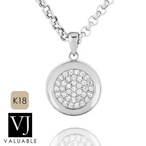 【ファッション誌に掲載】VJ【ブイジェイ】K18 ホワイトゴールド メンズ レディース クラッシュド ダイヤモンド コイン ペンダント※ペンダントのみ【18金 18k ネックレス 硬貨 メダル