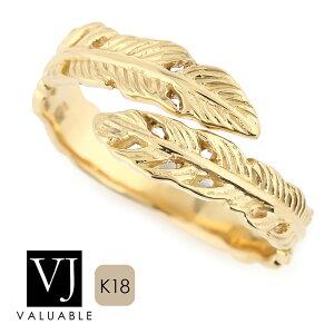 【ファッション誌モデル着用】 K18 イエローゴールド メンズ レディース フェザー ロール リング[ k18 指輪 18k 18金 ブランド ネイティブ イーグル ハワイアン インディアン ジュエ