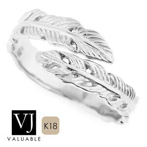 【ファッション誌モデル着用】 K18 ホワイトゴールド メンズ レディース フェザー ロール リング[ k18 指輪 18k 18金 ブランド ネイティブ イーグル ハワイアン インディアン ジュエ