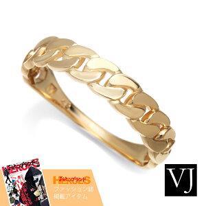 【ファッション誌掲載】VJ【ブイジェイ】18金 リング 18k メンズ レディース イエローゴールド NEW スタンダード キヘイ  マイアミ キューバン 指輪[K18 アメリカ イタリア ハワイアン