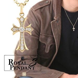 【再入荷、人気】VJ【ブイジェイ】 K18 イエローゴールド ダイヤモンド メンズ クロスRoyal.S.Pendant【ロイヤル・エス・ペンダント】 [k18 ネックレス 18k アメリカ ハワイアン アメリカン  18
