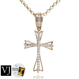 【ファッション誌に掲載】VJ【ブイジェイ】 K18 イエローゴールド メンズ ダイヤモンド クレイジースター ペンダント クロス チェーンセット【Aセット】[k18 ネックレス 18k ネックレス 18金 ネックレス チャーム 星]