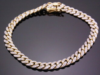 AQUAMASTER 10K黄色黄金鑽石1.92ct邁阿密球桿卡車鏈子手鐲Aqua主人10錢kihei喜平