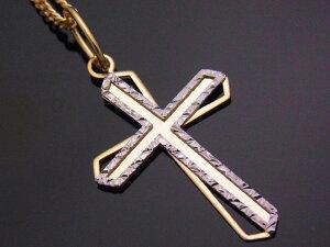 K18 イエローゴールド ホワイトゴールド デザイン クロス ペンダントチェーンセット【選べるネックレス長さ】 ※チェーン長さ40cm.45cm.50cmからお選び頂けます[k18 ネックレス 18k ネック