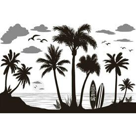 ウォールステッカー 海 木 南国 ヤシの葉 おしゃれ ヤシの木 モノトーン カフェ ツリー 壁 シール 植物 花 ビーチ かわいい ハワイアン 壁紙 砂浜 浜辺 海岸 ウォールシール 窓 鳥 キッチン 葉 葉っぱ 英字 カモメ リゾート サーフ diy 西海岸 波乗り 快適 サーフボード