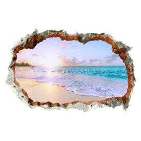 ウォールステッカー 窓 海 南国 ビーチ 風景 おしゃれ シール お風呂 壁紙 壁の穴 レンガ トリックアート ヤシの木 トイレ かわいい インテリア 壁飾り 写真 夕日 空 大きい 夏 窓の景色 波 砂浜 diyシール ハワイ ハワイアン サーフ 西海岸 アメリカン 海岸 磯 雲 建具