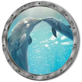 ウォールステッカー 窓 海 動物 イルカ 海豚 子供部屋 アニマル ステッカー 写真 壁紙 南国 3d ウォールシール トリックアート かわいい クジラ シール 海中 海底 ビーチ 冷蔵庫 かわいい diy 海底 お風呂 洗濯機 女子 洗面所 ウィンドウ 小さい 青い 丸い ミニサイズ ブルー