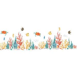 ウォールステッカー 動物 海 子供部屋 魚 お風呂 子供 おしゃれ 壁紙 風景 窓 亀 青い 海底 海の中 ブルー かわいい シール 鯨 癒し系 サンゴ礁 フィッシュ 波 月 浴室 バスルーム 景色 diy 水族