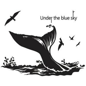 ウォールステッカー 海 動物 おしゃれ モノトーン クジラ 魚 カフェ モダン 子供部屋 くじら アニマル 鯨 文字 英文字 転写 壁紙 英字 アルファベット インテリア かわいい かっこいい 世界地