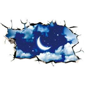 ウォールステッカー 窓 子供部屋 壁穴 風景 シール 【綺麗な夜空】 宇宙 男の子 女の子 惑星 地球 床 海 お風呂 写真 トリックアート 月 雲 星 ステッカー 星雲 流星 輝く星 レンガ 穴 インテリアシール 銀河系 文字 衛星 世界 石 3d 景色 大きい 船 だまし絵 岩 岩石 綺麗