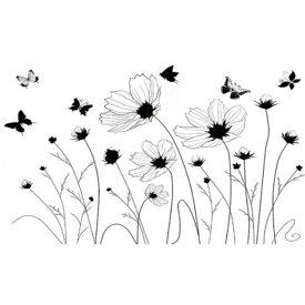 ウォールステッカー おしゃれ 植物 花 黒い コスモス 北欧 フラワー モノトーン 木 蝶 アイビー ステッカー 秋桜 洗面所 壁シール 花のつる 玄関 かわいい 和風 草原 黒色 インテリア シンプル 葉 ちょう モダン シック 風景 昆虫 花壇 庭 ナチュラル テイスト 花びら 簡単