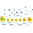 ウォールステッカー/あひる/ウォールステッカー/動物/ウォールステッカー/アニマル/壁紙/水玉/ステッカー/お風呂/インテリアシール/黄色/シール/親子/デコシール/ぴよぴよ/インテリアステッカー