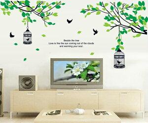 ウォールステッカー おしゃれ 北欧 木 植物 【木と鳥かご】 ツリー リーフ アイビー グリーン アルファベット キッチン 英字 葉 鏡 シール 鳥 花 緑 インテリア 大きな木 ウォールシール かわ