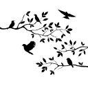 ウォールステッカー 動物 植物 花 おしゃれ 木 モノトーン 北欧 カフェ モダン 鳥 モノクロ 窓 トイレ用 文字 英語 英字 転写 キッチン ツリー 木と鳥 インテリア 雑貨 ブルックリン ステッカー 時計 鳥かごと木 かわいい 洋室 壁紙 店 洗面所 小さい ミニ サイズ 黒色