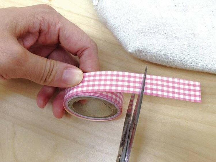 くるくるお名前テープ 1.5cm ピンクチェック JAN4972440113915