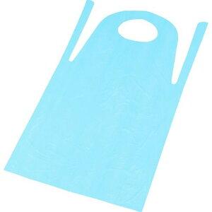 TRUSCO PE使い捨てエプロン サイズフリー ブルー (50枚入) 1箱