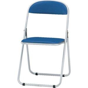 TRUSCO 折りたたみパイプ椅子 ウレタンレザーシート貼り 青 1脚