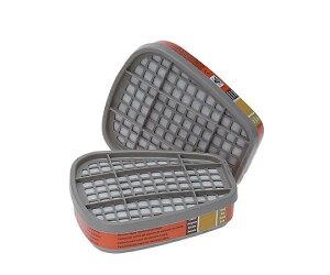 防毒マスク面体 (防塵マスク兼用) 吸収缶(2個入) 水銀蒸気用 6009 1組(2個入)